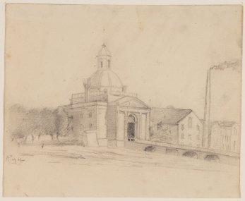 De Muiderpoort van buiten 1862
