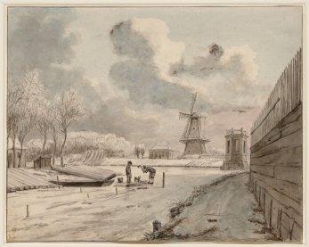 de Plantage Muidergracht van Roeterseiland gezien naar de Schans en molen de Hond 1785 Andriessen, Jurriaan